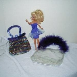 VINTAGE Barbie with Two Little Girls Purses